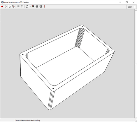 3D render of a box made in eMachineShop CAD