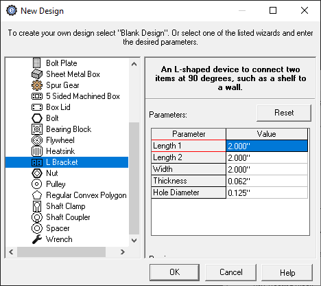 custom bracket creator menu in eMachineShop CAD