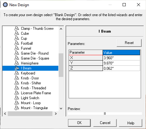 beam creator menu in eMachineShop CAD