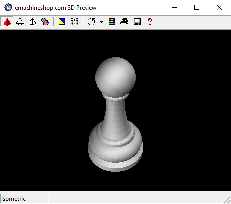 3D render of a chess pawn in eMachineShop CAD