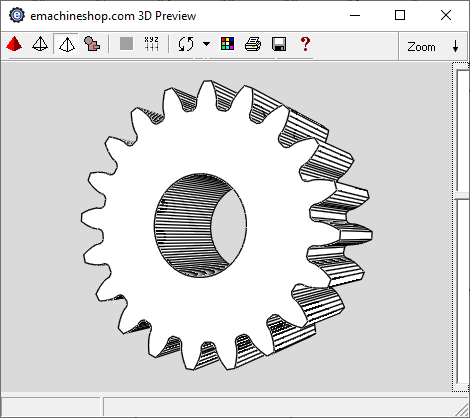 3D render of a gear in eMachineShop CAD