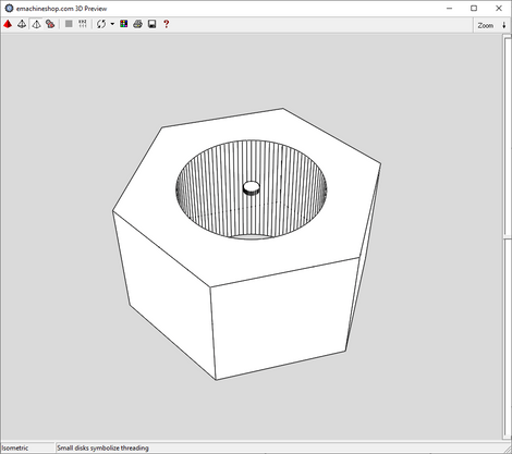 3D render of a hex nut made in eMachineShop CAD