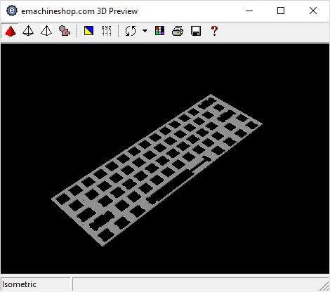 3D render of a keyboard shell in eMachineShop CAD