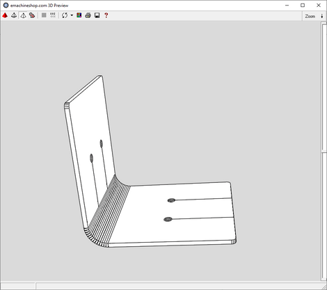 3D render of a custom L-Bracket in eMachineShop CAD