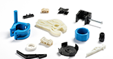 assorted polystyrene parts spread out on a white background