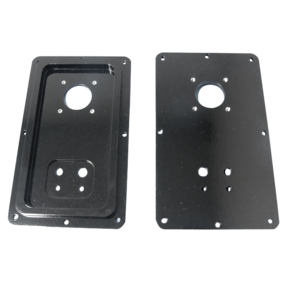 2 black milled metal parts with multiple milled holes