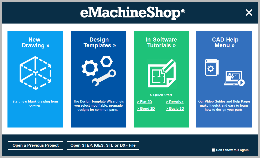 eMachineShop CAD start screen