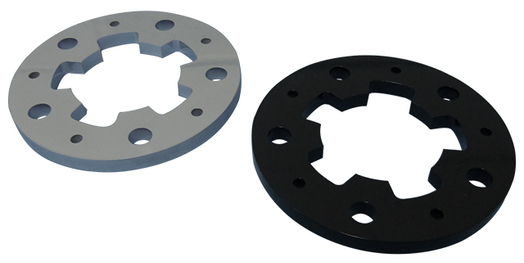 one grey powder coated machine part and one black powder coated machine part on a white background