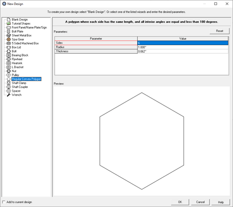 custom polygon creator menu in eMachineShop CAD