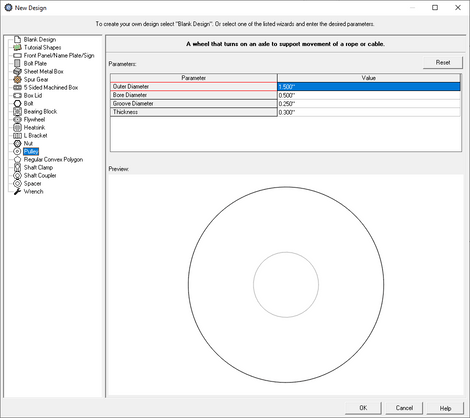 custom pulley creator menu in eMachineShop CAD