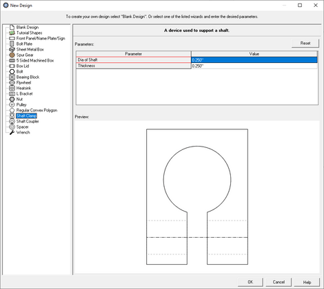 custom shaft clamp creator menu in eMachineShop CAD