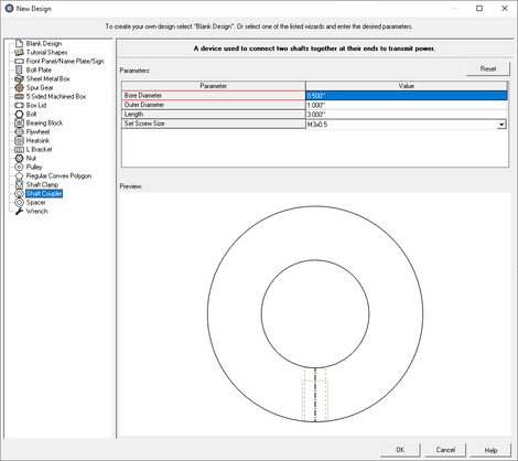 custom shaft coupler creator menu in eMachineShop CAD