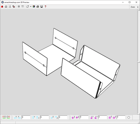 3D render of a sheet metal box made in eMachineShop CAD