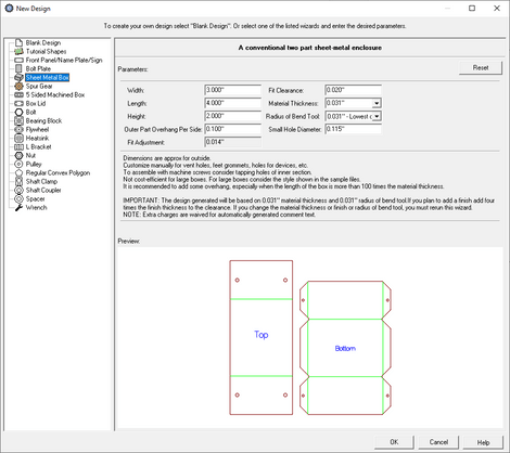 sheet metal box creator menu in eMachineShop CAD