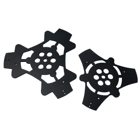 black anodized telescope parts made on a waterjet